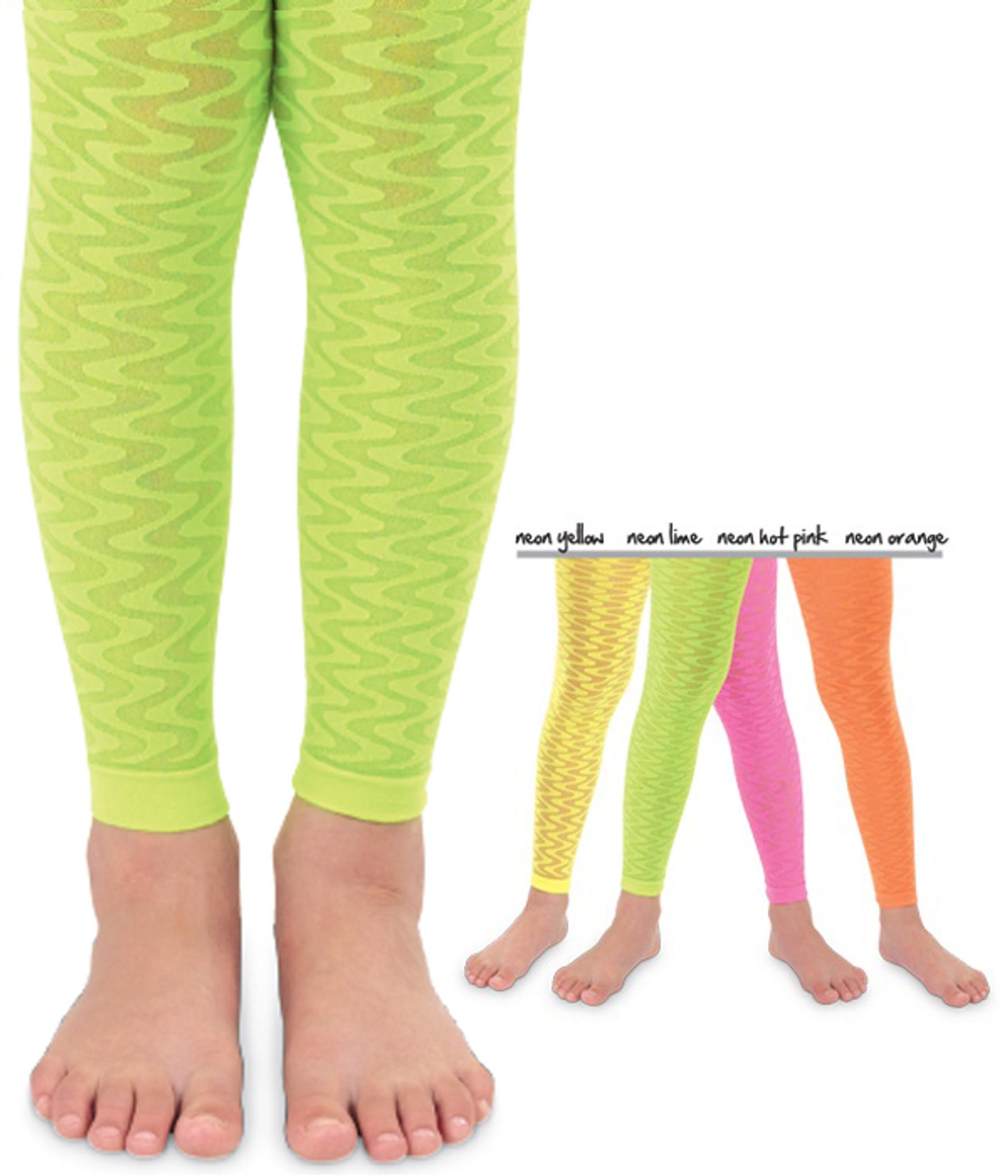 b38b08f89d Wave Kids Leggings, Footless Tights, Neon Tights, Neon Leggings ...