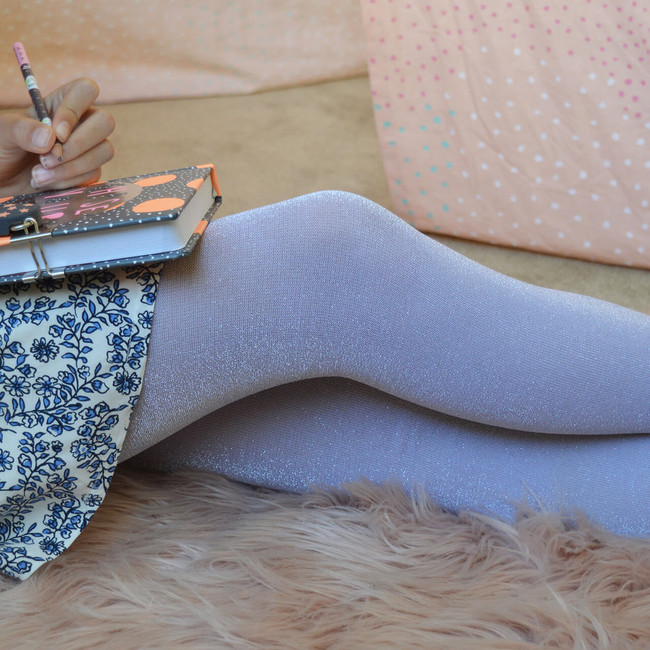 Sparkly Kids Tights in Silver