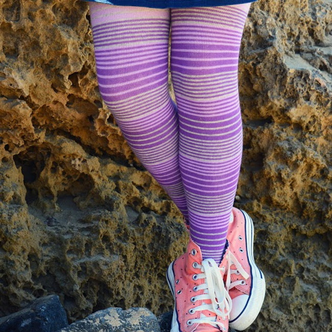 A close up of our purple striped tights.   Pic credit: Hannah Tyrell Designs