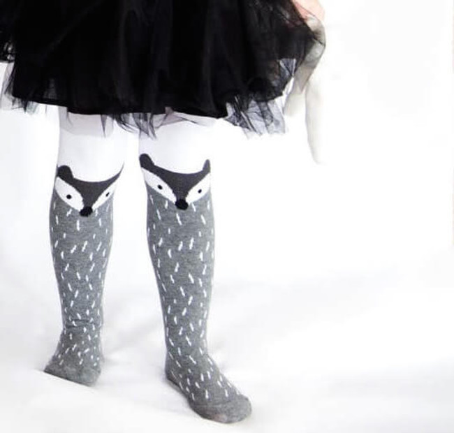 Kids Fox Tights in Grey with black Tutu