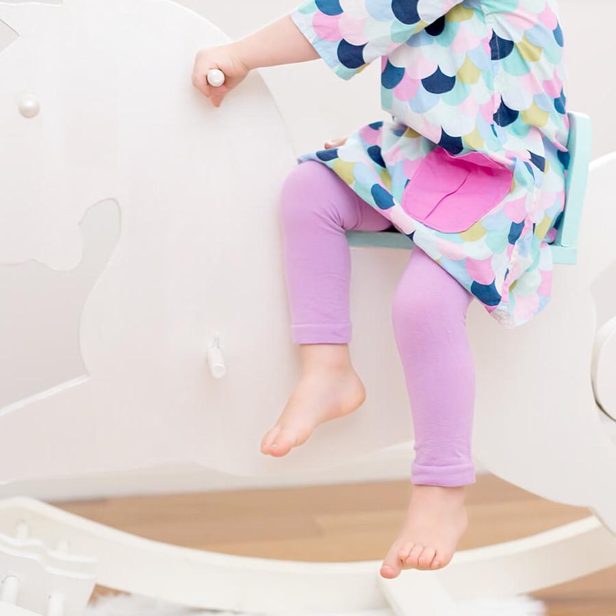 Pima Cotton Kids Capri Leggings in Lilac.