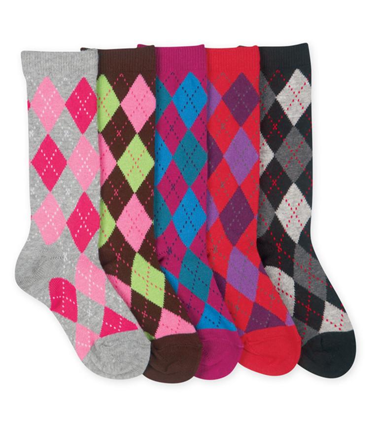 Argyle Knee High Girls Socks