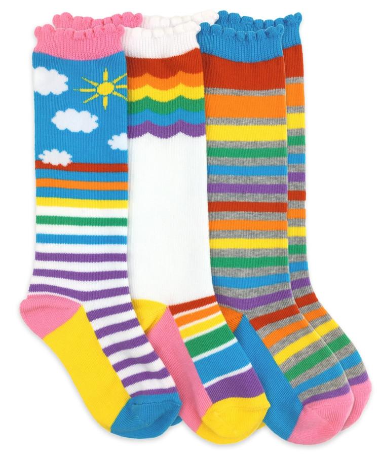 Kids Knee High Rainbow Socks (Sunshine Stripes, White with Rainbow and Rainbow Stripes).