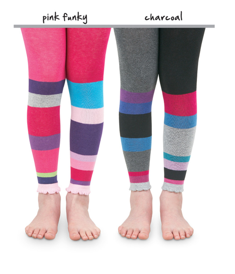Colour Block Footless Kids Tights