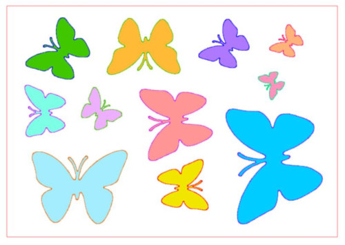 Reusable Stencils, Colorful Butterflies in Various Sizes