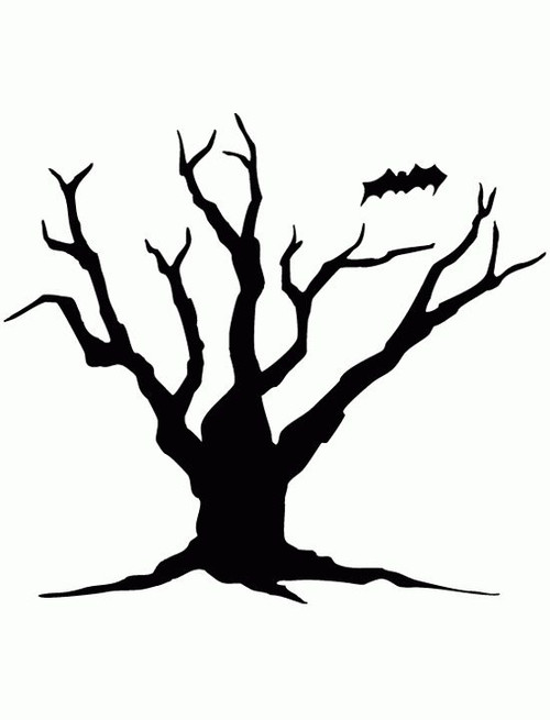 Reusable Stencils, Halloween Spooky Tree, Bats