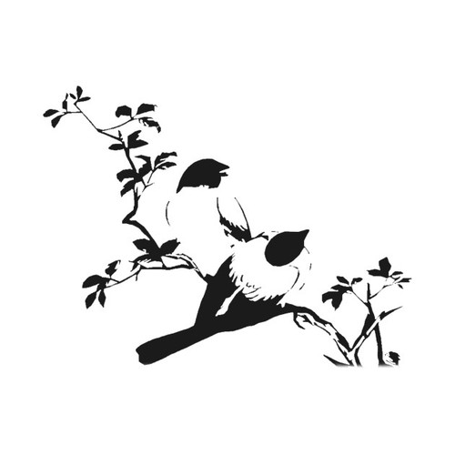 Reusable Stencils, Birds on Branches, Leafy tree Branch