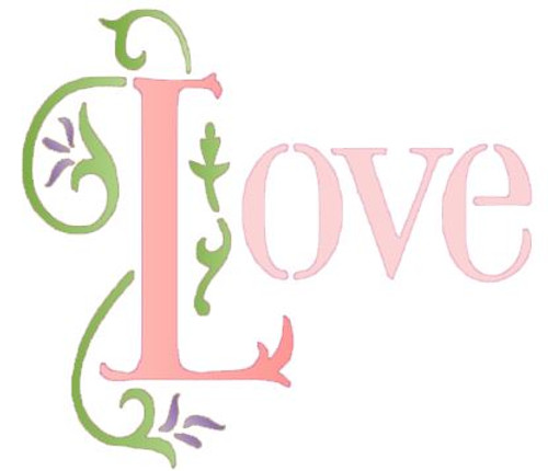 """Reusable Stencils, """"Love"""" with Floral Accent"""