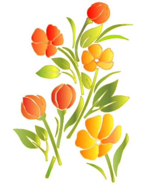 Reusable Stencils, Colorful Garden Flowers.