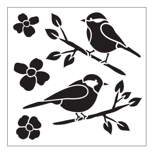 Reusable Stencils, Birds on Branches, Bird, Flowers, Nature
