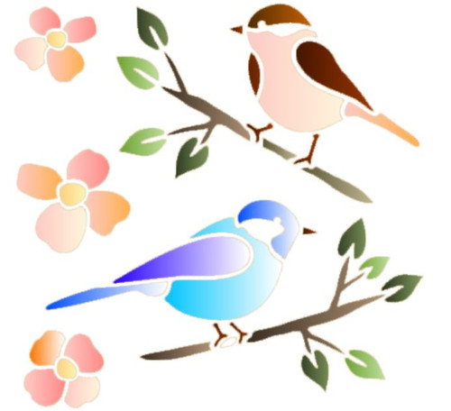 Reusable Stencils, Colorful Birds on Branches, Bird, Flowers, Nature.