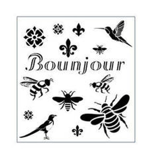 Reusable Stencils, Bonjour, French Bees, Fleur de Lis, Hummingbirds, Quotes