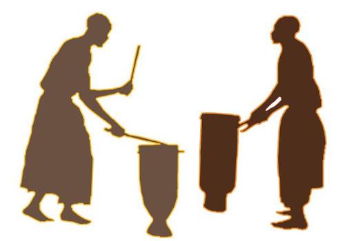 Reusable stencils: Tribal  drummers, African musicians.