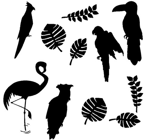 Reusable Stencils, Exotic Birds, Toucans, Parrots, Cockatoos, Tropical
