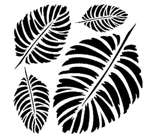 Reusable Stencils, Palm Leaf Fronds Tropical Tree Leaves