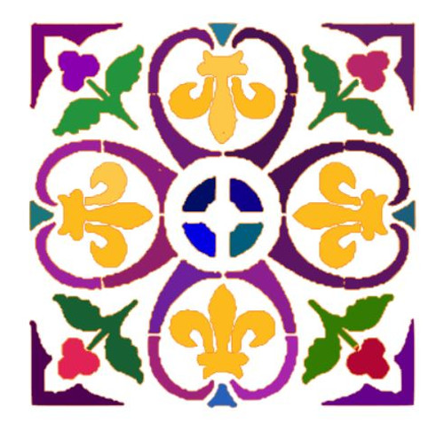 Reusable Stencils, French Fleur de Lis Flourish Tile