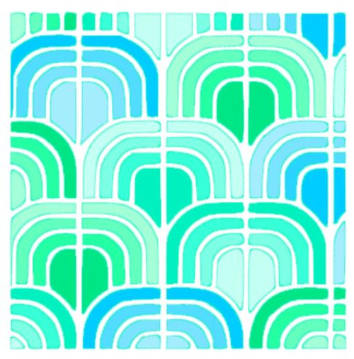 Reusable Stencils, Colorful Modern Tile Design in Greens and Blues.