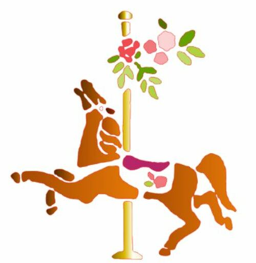 Reusable Stencils: Carousel Merry-Go-Round Horse Rides