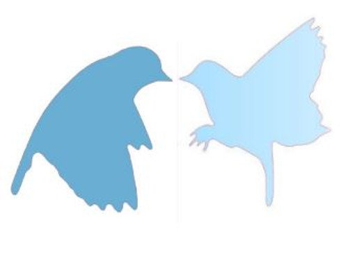 """Reusable stencils: Love Birds in Flight.  Set of two individual stencils, beginning at  approximately 11"""" x 11"""" each."""