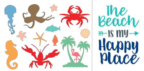 """Reusable Stencils: Set of 2 Stencils / Beach Icons, Palm Trees, Sea Life, & """"The Beach Is My Happy Place"""" Sign."""