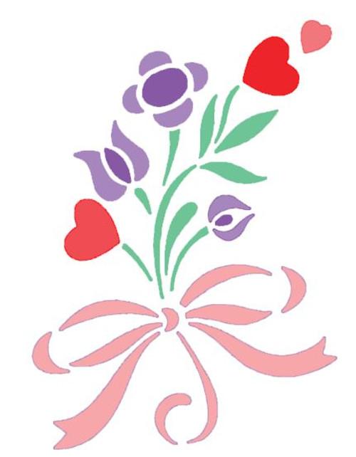 Reusable Stencils, Hearts and Flowers Bouquet
