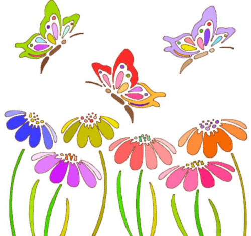 Reusable Stencils, Colorful Butterflies & Daisies.