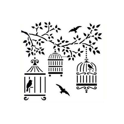 Reusable Stencils, Birds Cages