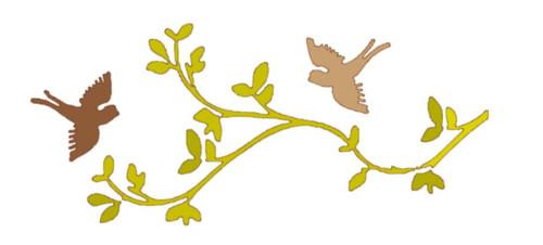 Reusable Stencils, Muted Colorful Birds, SpArrows, Leafy Branches.