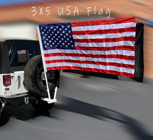 Jeep Attitude 3x5 USA Flag  Back of Jeep on White Hitch Mount