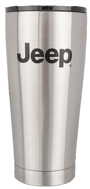 Jeep Attitude Cup Tumbler Thermo 20oz JEEP LICENSED Etched Logo - brushed stainless steel