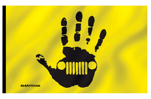 Wave Hand Flag Black Yellow