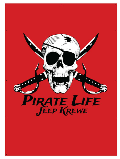 Pirate Life Jeep Krewe soft top sun shades and flags