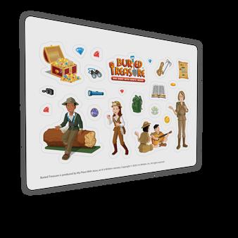 "Buried Treasure Characters Sticker Sheet (7"" x 5"")"