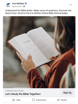 Social Media Ads to enroll in online Bible Studies