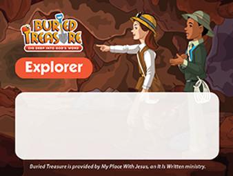 Buried Treasure Explorer Name Badge