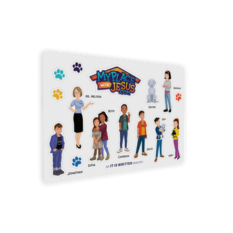 """My Place With Jesus Characters Sticker Sheet (7"""" x 5"""")"""
