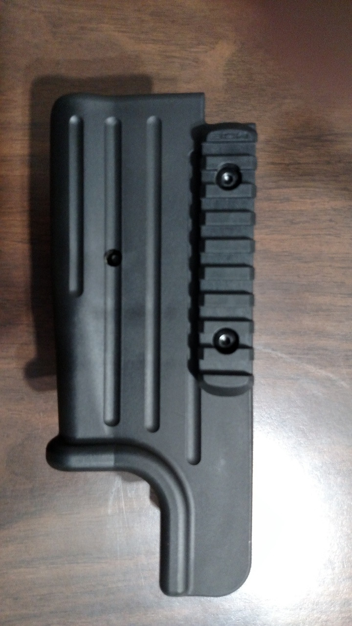 if using the plastic forearm a rail will need to be added as shown.