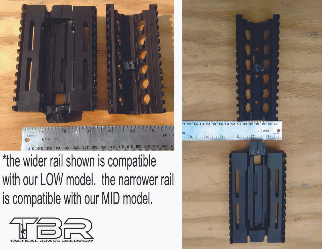 M249 rail adapter (wider and sits lower on receiver), and  lower RAS rail (narrower and sits a bit higher on receiver) shown.