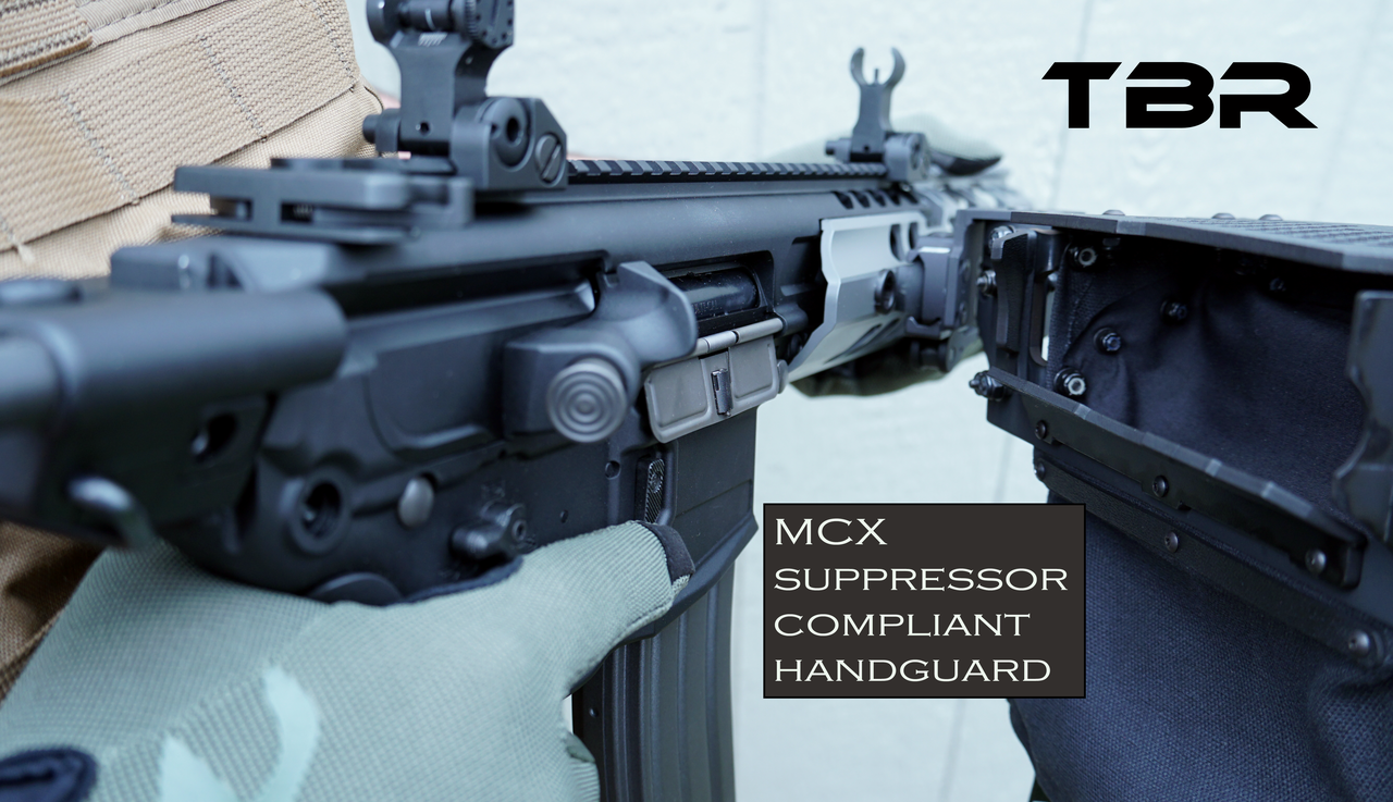 Operator for MCX with Suppressor Compliant hanguard shown.  built with offset frame to compensate for extreme diameter of handguard.