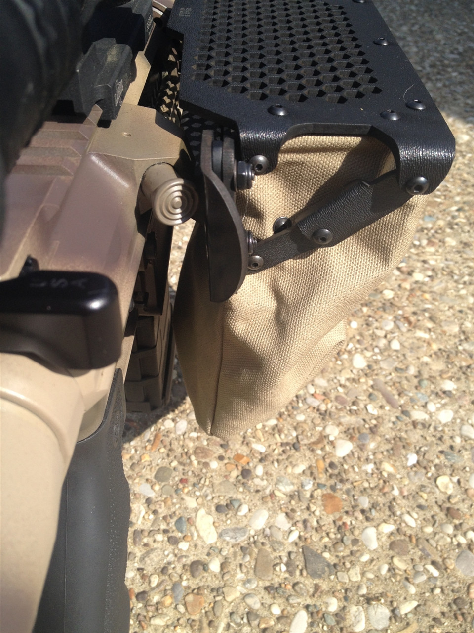 shown on DPMS LR308 with shell deflector/forward assist combination. Khaki/tan fabric.