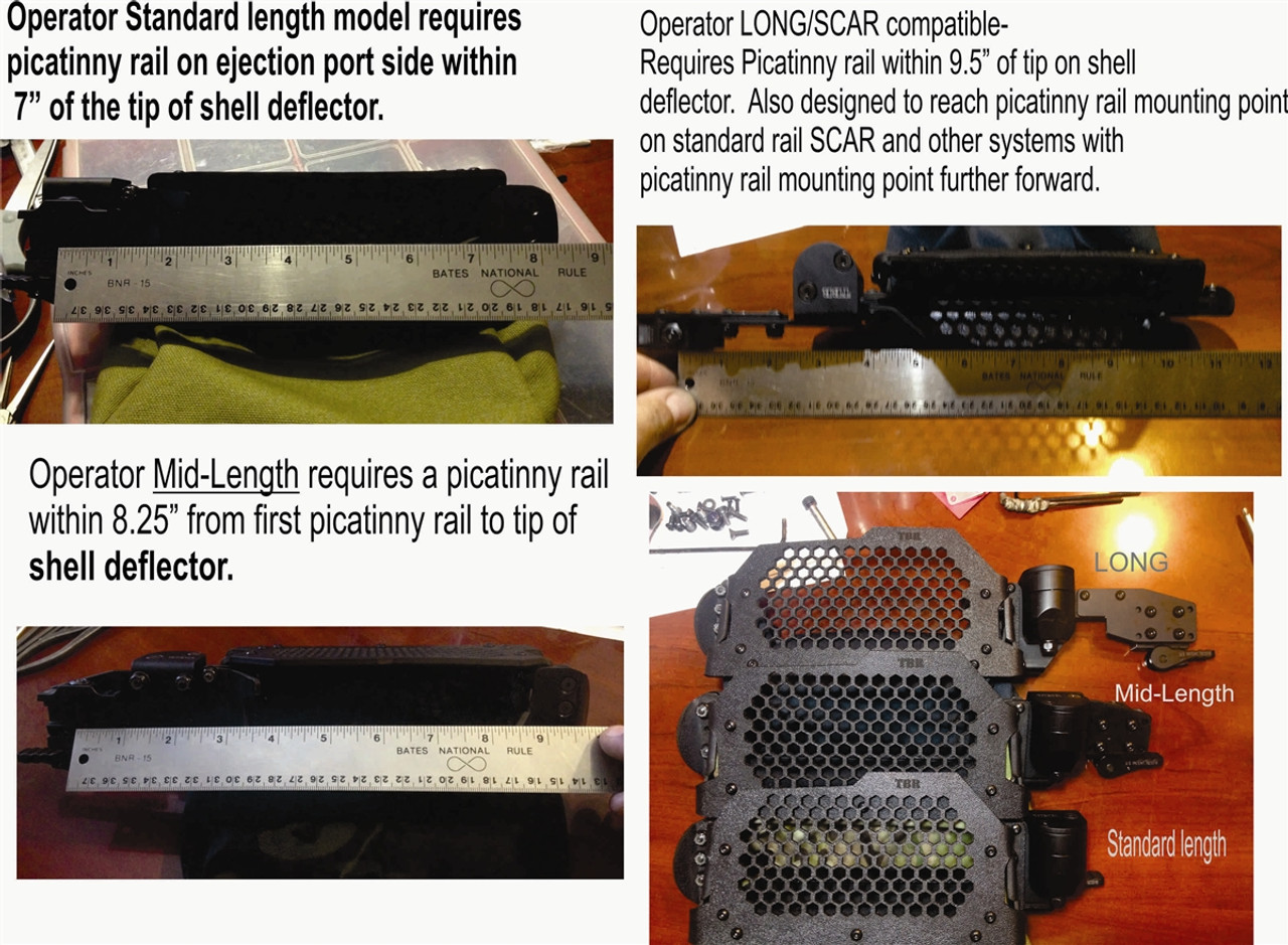 this photo highlights the difference between STD, MID-Length, and LONG Operator models.