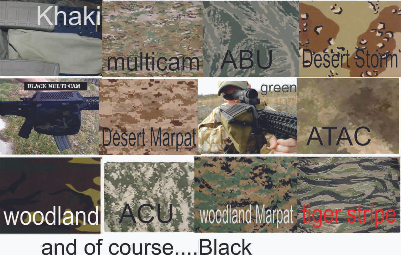The following colors are available with 6 to 10 business day lead time. Woodland, ACU, ABU, Desert Marpat, Tiger Stripe, Woodland Marpat, Surpat (limited quantity), and Desert Storm.
