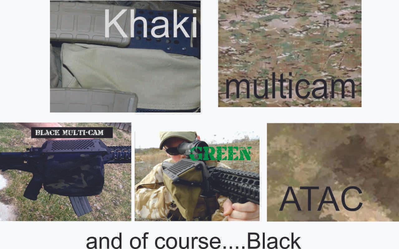 available in Khaki, multicam, Multicam-Black, Green, and ATAC-AU