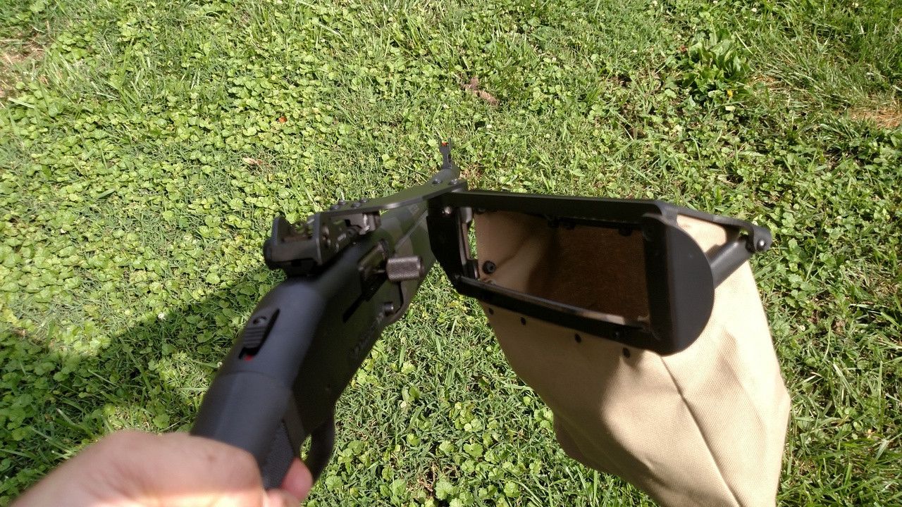 catch your hulls and when you need to chamber another just pop the Hull catcher out of the way and rack the charging handle then push the hull catcher back into place. shown on Mossberg 930 tactical...