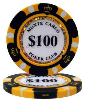$100 Monte Carlo 14 Gram Poker Chips