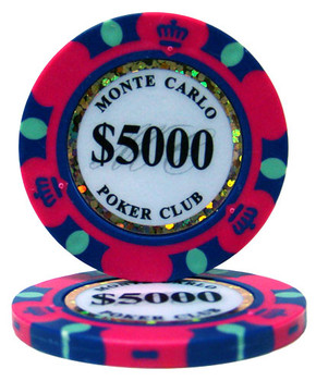 $5,000 Monte Carlo 14 Gram Poker Chips
