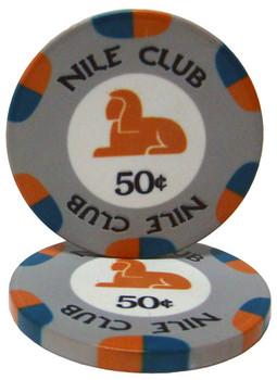 .50¢ (cent) Nile Club 10 Gram Ceramic Poker Chip