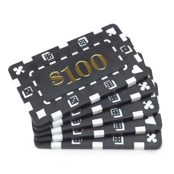 5 Denominated Poker Plaques Black $100