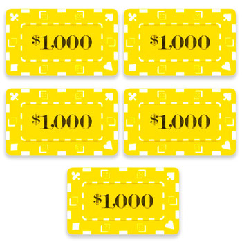 5 Denominated Poker Plaques Yellow $1,000