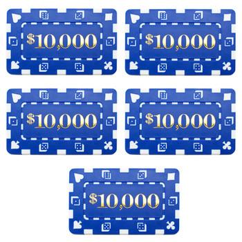 5 Denominated Poker Plaques Blue $10,000